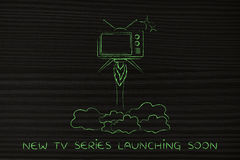 Tv series launch, television flying like a rocket. New tv series launch: television flying like a rocket Stock Images