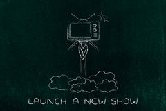 Tv series launch, television flying like a rocket. New tv series launch: television flying like a rocket Royalty Free Stock Image
