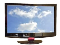 Tv set. Front of TV set with clouds on screen, isolated  with clipping path Royalty Free Stock Image