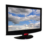 TV set. Flat tv set isolated n white, with clippping path insaid and outside and clouds on screen Royalty Free Stock Images