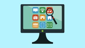 Tv with set applications menu and magnifying glass animations stock illustration