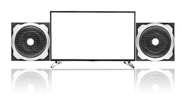 TV set and Audio speaker isolated on white background. Stock Photo