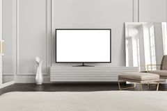 White screen TV set in a gray living room royalty free illustration