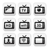 TV set, 3d, HD  buttons Royalty Free Stock Photos