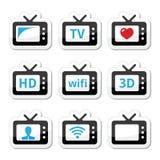 TV set, 3d, HD  icons set Royalty Free Stock Photo