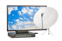 TV set with digital satellite receiver and satellite dish, telecommunications concept. 3D rendering. TV set with digital satellite receiver and satellite dish vector illustration