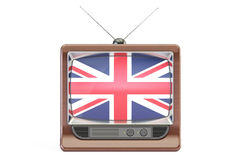 TV set with flag of United Kingdom. British Television concept, Royalty Free Stock Images