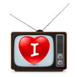 TV set with Heart Stock Image