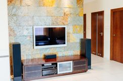 TV set with Hi-fi home cinema system. TV on the wall stock image