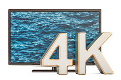 TV set 4K concept, 3D rendering. Isolated on white background Royalty Free Stock Images