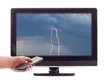 TV. Set with lightning on the screen Stock Image