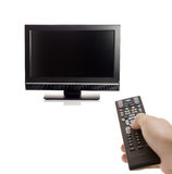TV set and a person Royalty Free Stock Image