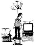 TV set prevents every time. TV set distracts the man going to hang oneself from his sorrows Stock Images