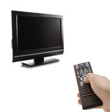 TV set and a remote control Royalty Free Stock Photography