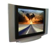 Tv set with road through desert Royalty Free Stock Photo