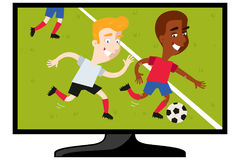 TV set showing cartoon football match with two players running after ball Stock Photo
