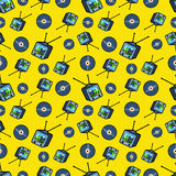 TV Set and Vinyl Seamless Pattern. Background in Retro Style Stock Photography