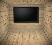 TV set in wooden interior Royalty Free Stock Images