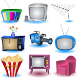 Tv Sets. Vector illustration of nine TV and similar related icons Stock Photo