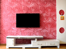 TV setting wall. A Chinese family living room, TV setting wall is pink Royalty Free Stock Photo