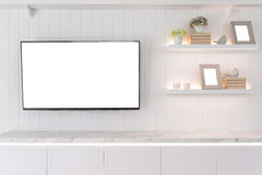TV and shelf in living room Contemporary style. Wood furniture i. N white with decorative at home royalty free stock images