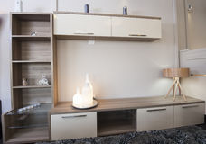 TV shelf unit on wall in show room Stock Image
