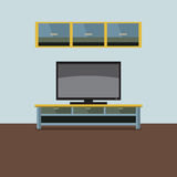 TV Shelf With Wall Cabinet. Stock Image