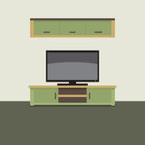 TV Shelf With Wall Cabinet. Royalty Free Stock Image