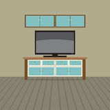 TV Shelf With Wall Cabinet. Stock Photos