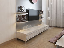 TV shelves and a cupboard under the TV in the bedroom. Royalty Free Stock Photo
