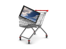 Tv shopping. 3d illustration of chopping cart with tv inside Stock Photos