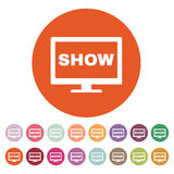 The tv show icon. Television and telly, telecasting, broadcast symbol. Flat Stock Image
