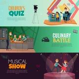 TV Show Kids Horizontal Banners vector illustration