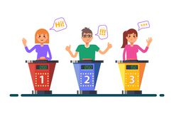 Quiz game or tv, television show, question contest. Tv show with people or quiz game with cartoon characters. Man and woman raising hands on television game stock illustration