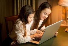 Två skolflickor som gör läxa på bärbara datorn på natten Arkivbild