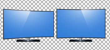 TV - smart TV. 4k Ultra HD screen, led tv isolated transparancy background.  stock illustration