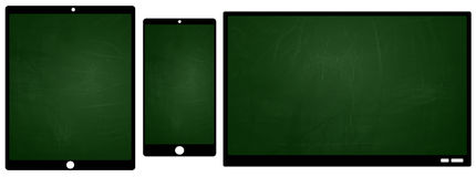 TV smartphone and tablet icons with green chalkboard screen Stock Images