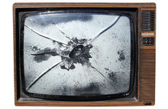 TV with a smashed screen. An old trashed TV with a smashed screen, isolated on a white background Royalty Free Stock Photos