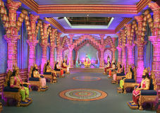 A TV soap programme set at Ramoji Film City. Colourful and beautifully lit set of a popular mythological TV soap serial at Ramoji Film City, Hyderabad Stock Photo