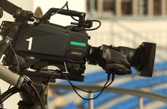 TV at the soccer. Royalty Free Stock Images
