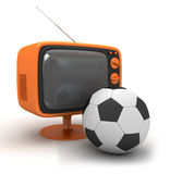 Tv and soccer ball Royalty Free Stock Image