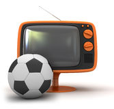 Tv and soccer ball Stock Photo