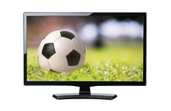 TV Soccer ball closeup on the field sport background isolated Royalty Free Stock Photo