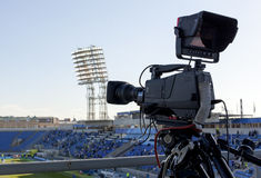 TV at the soccer Stock Photography