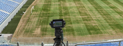 TV at the soccer. video camera back football goal. Stock Images