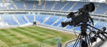 TV at the soccer. video camera back football goal. Royalty Free Stock Photo