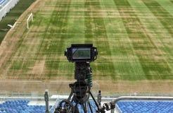 TV at the soccer. video camera back football goal. Stock Photo