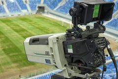 TV at the soccer. video camera back football goal. Stock Photos