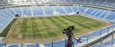 TV at the soccer. video camera back football goal. Stock Image
