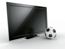 TV with soccerball Stock Photos
